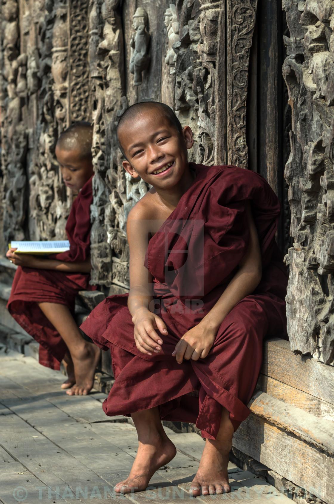"""""""Two Buddhist novice at Shwenandaw pagoda, mandalay, myanmar"""" stock image"""