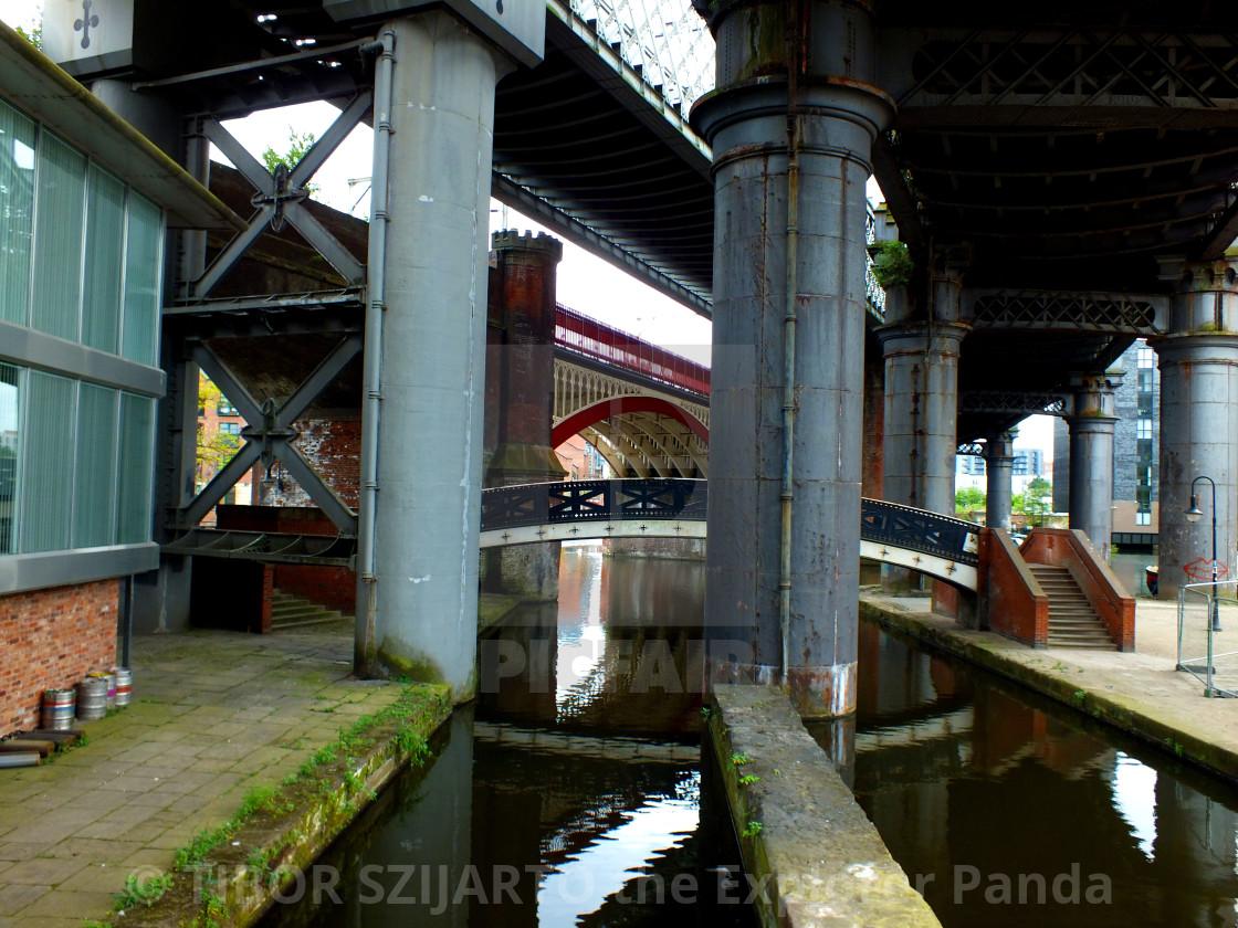 """Berth under the bridges"" stock image"