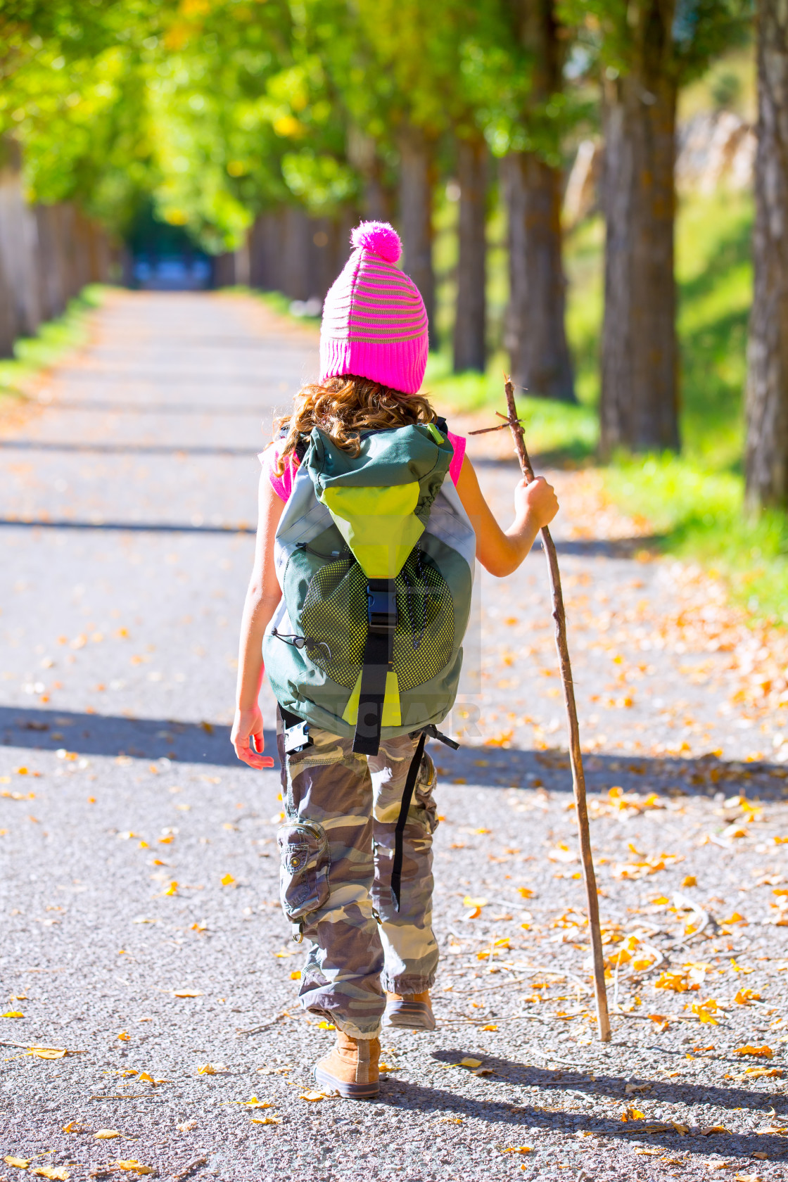 """""""hiking kid girl with walking stick and backpack rear view"""" stock image"""
