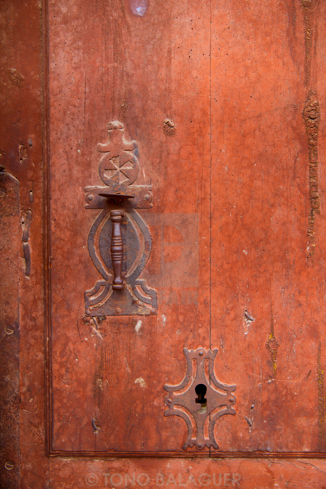 """""""Aged old vintage door knob and keyhole"""" stock image"""