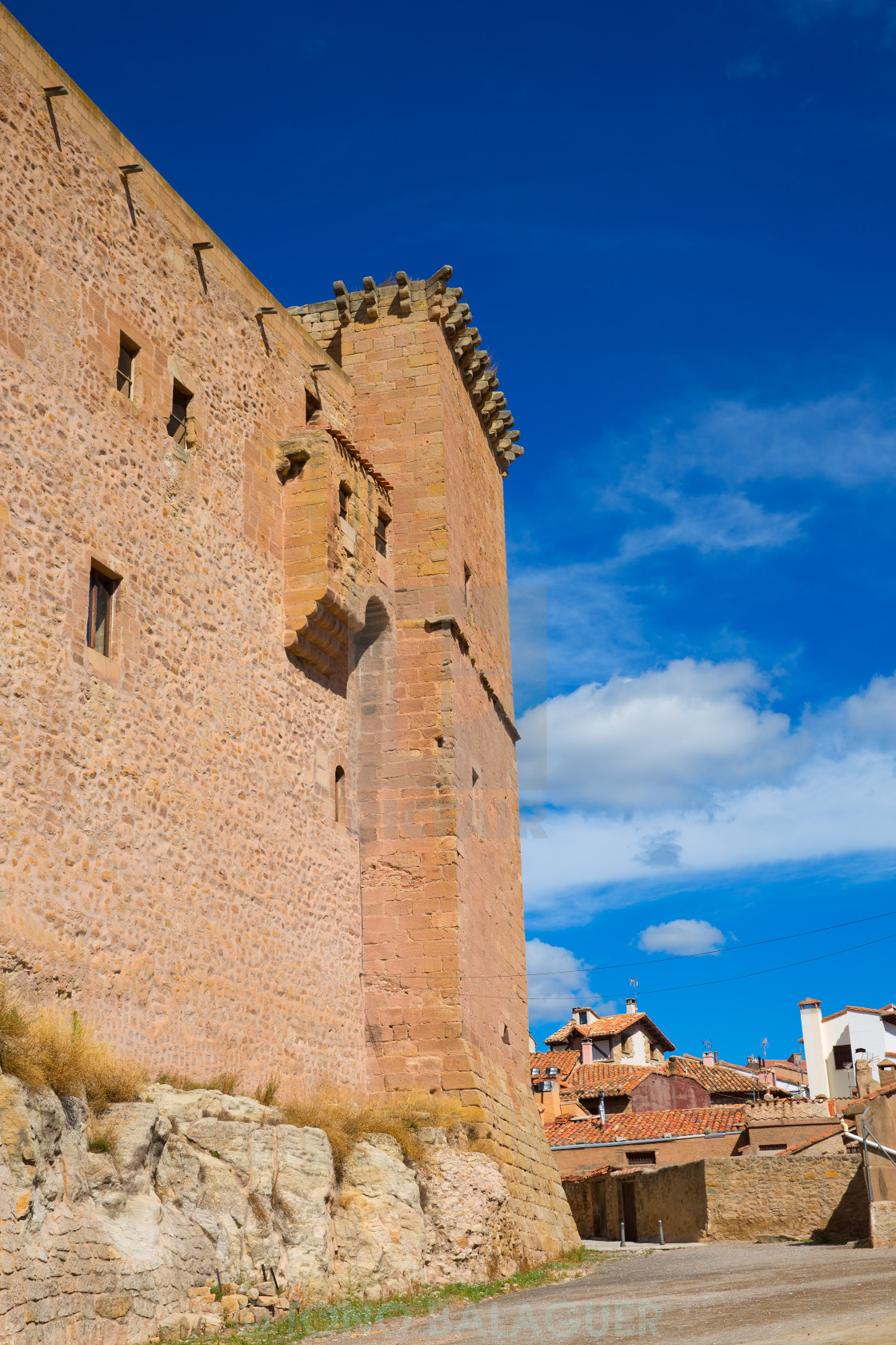 """Mora de Rubielos Teruel Muslim Castle in Aragon Spain"" stock image"