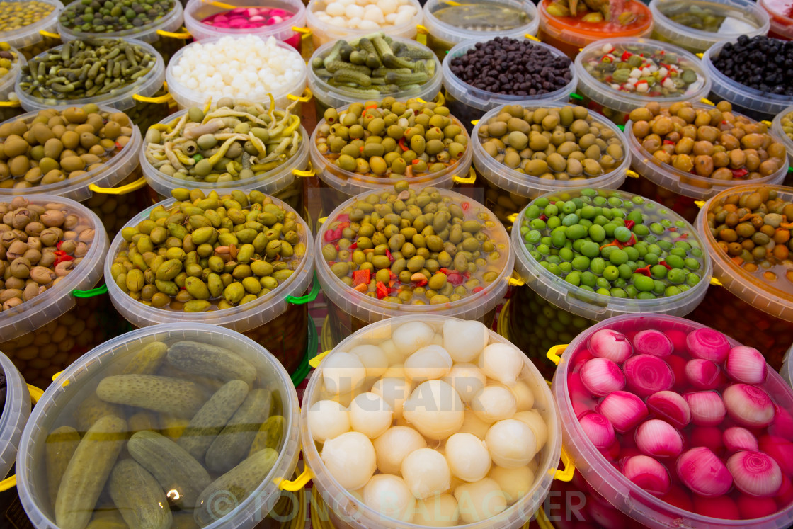 """""""Pickles varied olives onion carrot lupins hot pepper gherkin"""" stock image"""