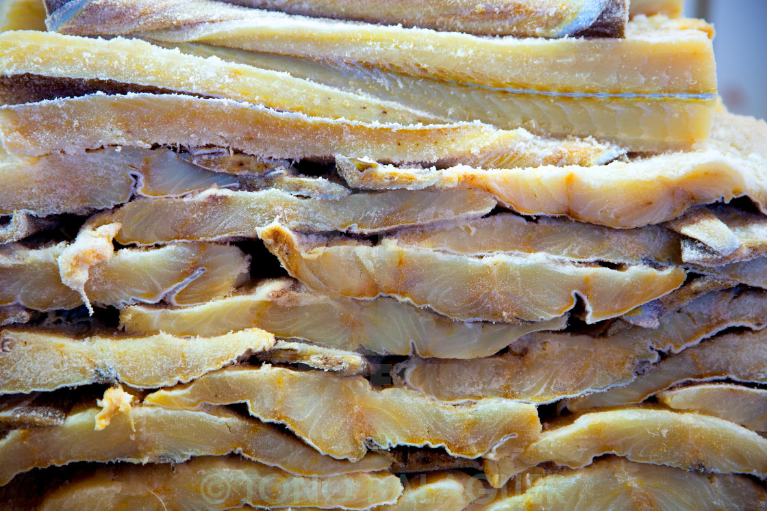 """""""Cod fish salted codfish in a row stacked"""" stock image"""