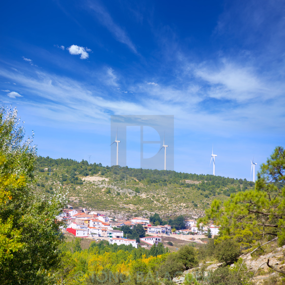 """Cuenca San Martin de boniches village with windmills"" stock image"