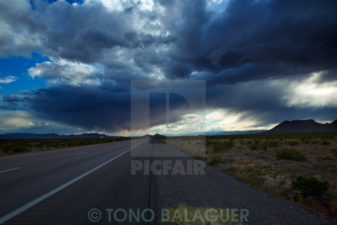 """""""Stormy clouds dramatic clouds sky in I-15 Nevada US"""" stock image"""