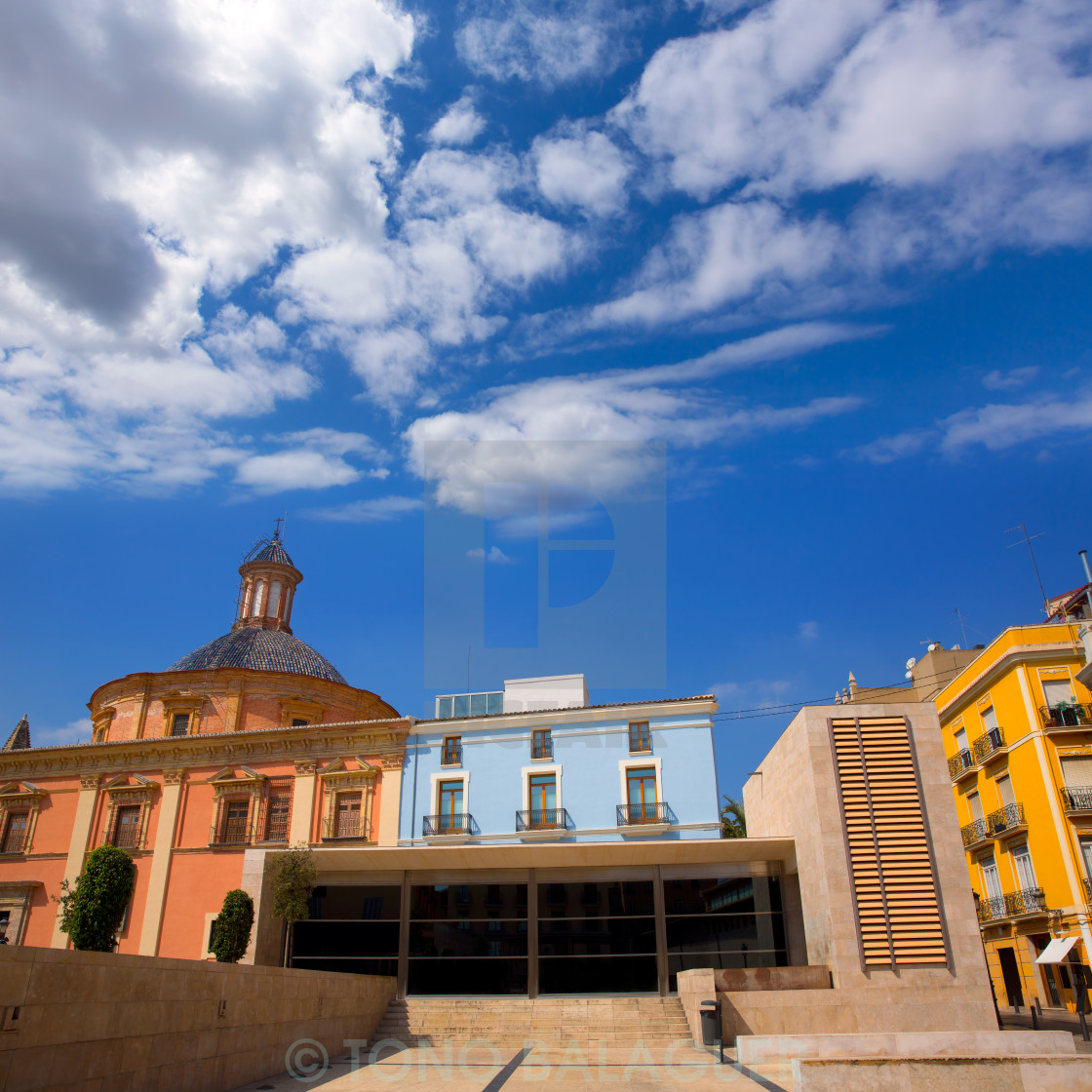 """Valencia downtown cathedral and basilica Spain"" stock image"