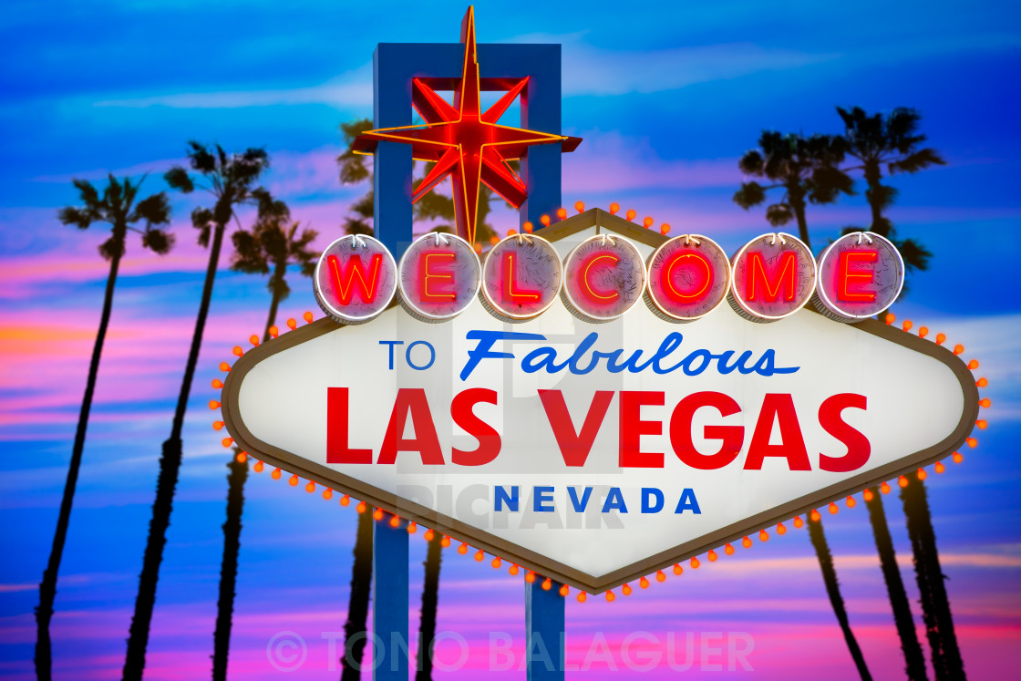 """Welcome Fabulous Las Vegas sign sunset palm trees Nevada"" stock image"