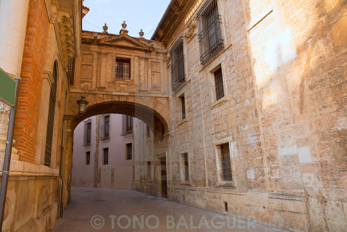 """""""Valencia Cathedral Arch Barchilla street at Spain"""" stock image"""