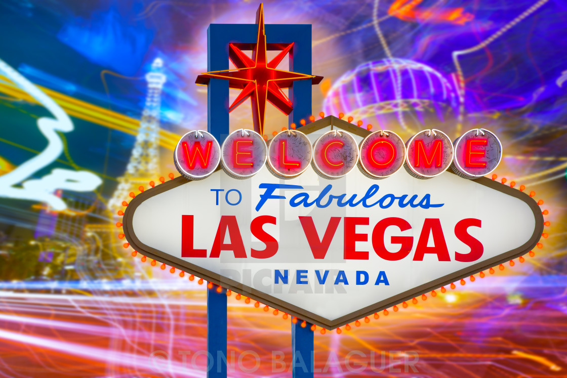 """""""Welcome to Fabulous Las Vegas sign sunset with Strip"""" stock image"""