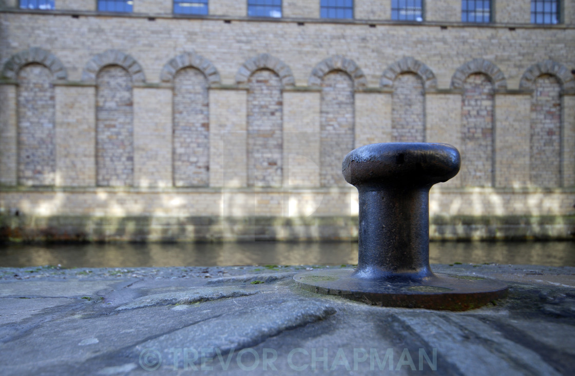 """CANALSIDE CAPSTAN AT SALTS MILL"" stock image"