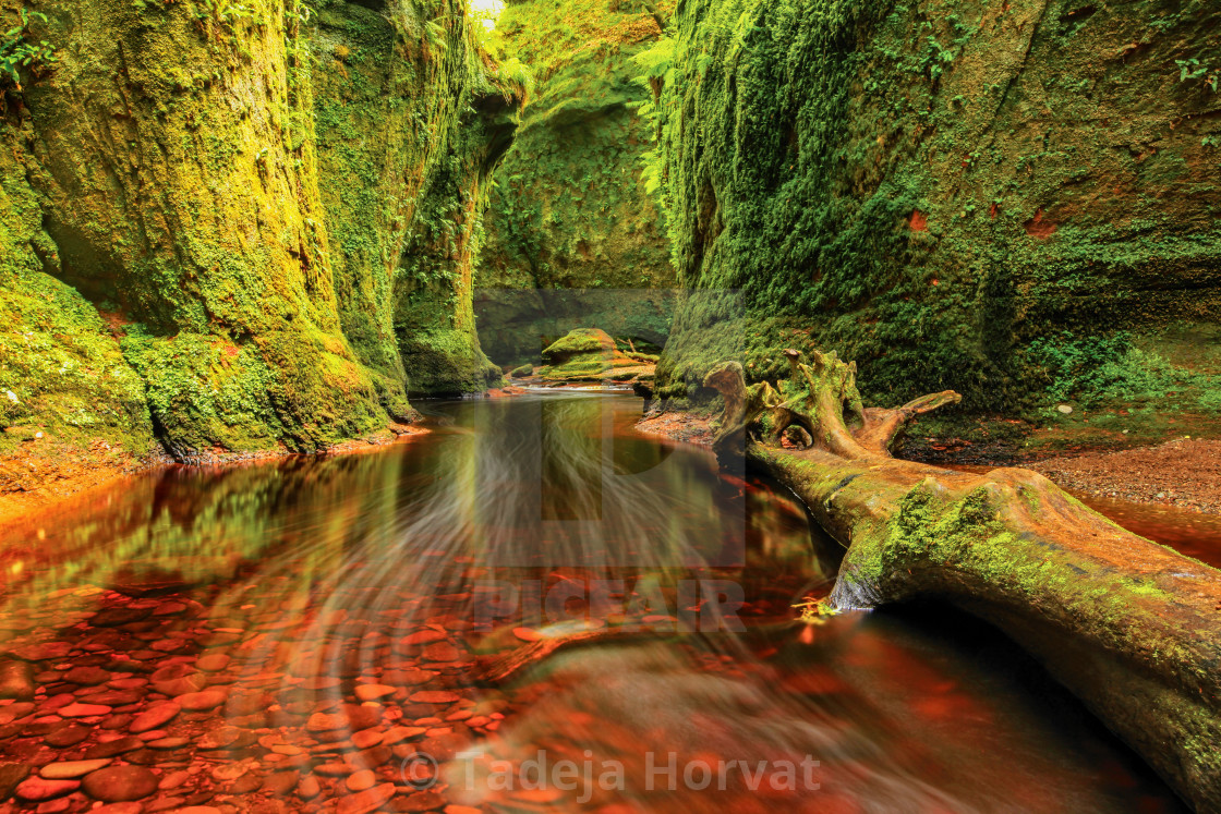 """Finnich Glen, Devils Pulpit"" stock image"