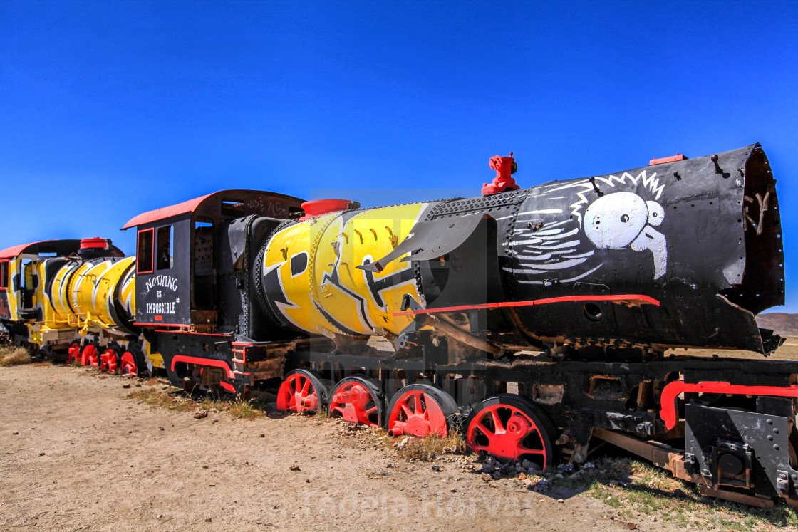 """Cementerio de trenes, Uyuni"" stock image"
