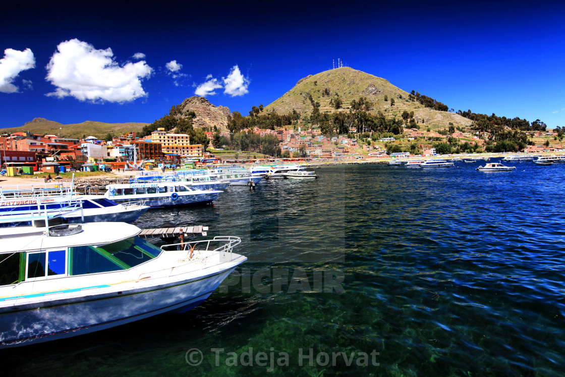 """Copacabana on Lake Titicaca"" stock image"