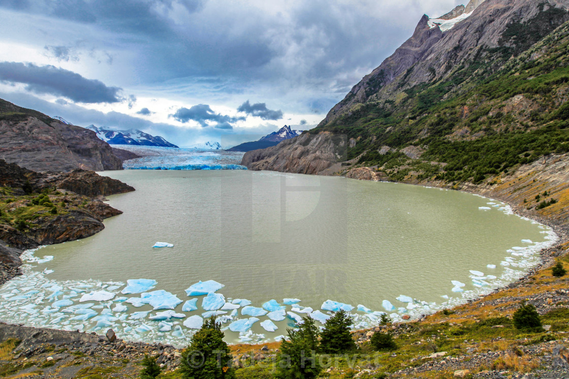 """Lake and glacier Grey"" stock image"