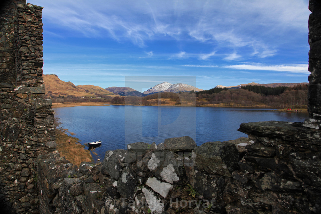 """View from Kilchurn Castle over Loch Awe"" stock image"