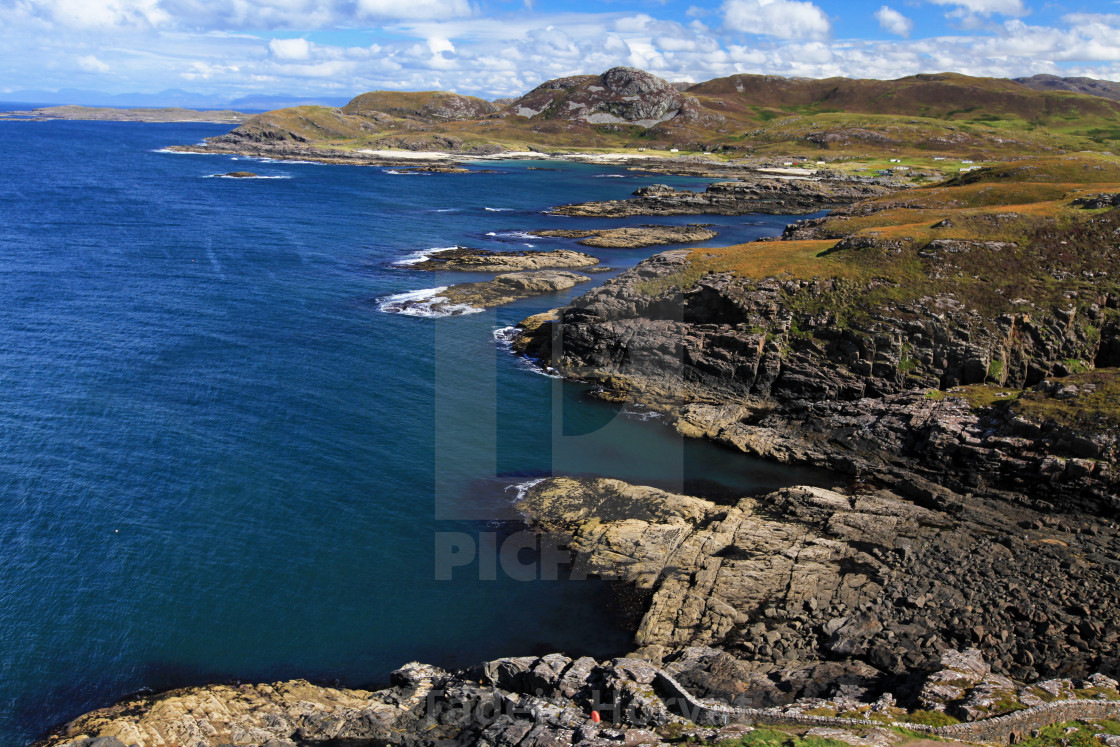 """Coastline from Ardnamurchan Lighthouse tower"" stock image"