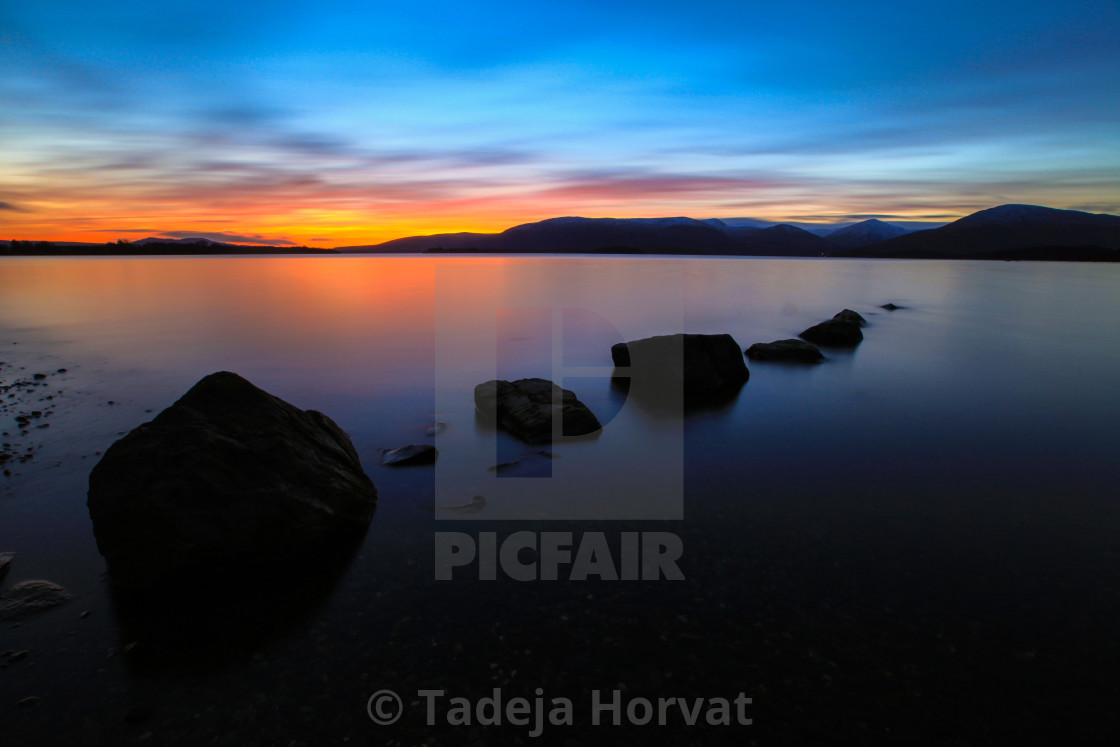 """Sunset on the banks of Loch Lomond"" stock image"