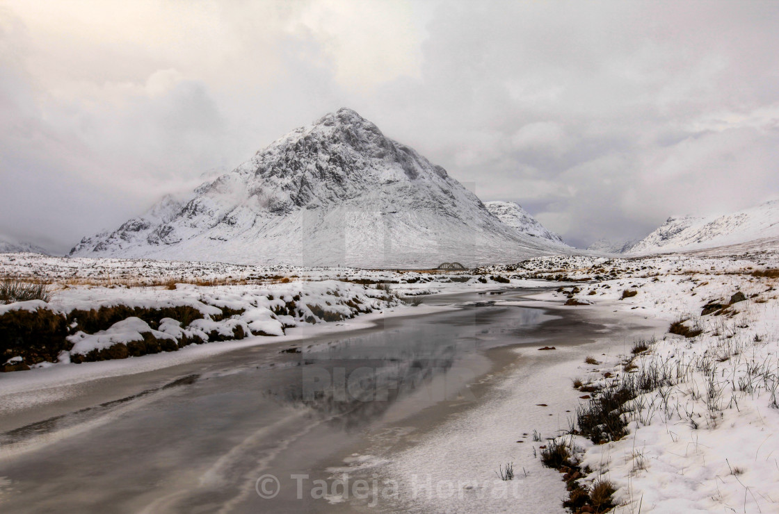 """Etive Mor from the River Coupall"" stock image"