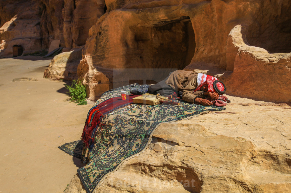 Bedouin man sleeping (Little Petra)