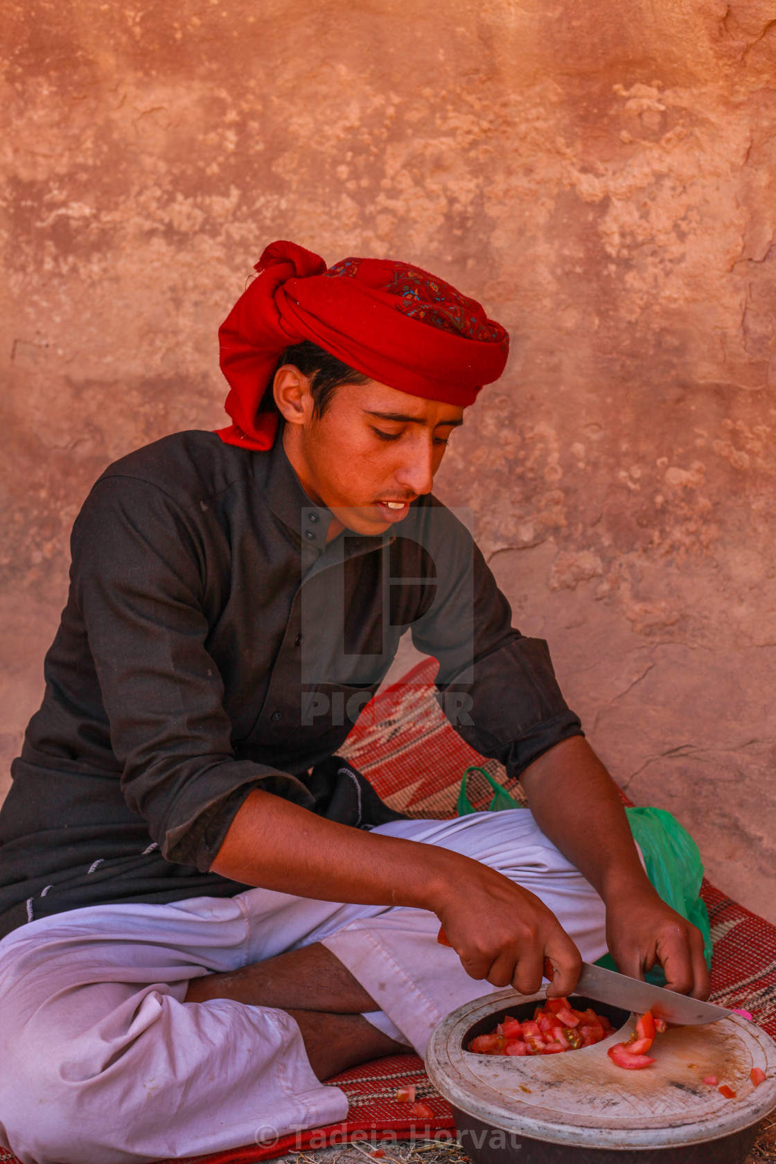 """Bedouin preparing lunch in the desert"" stock image"