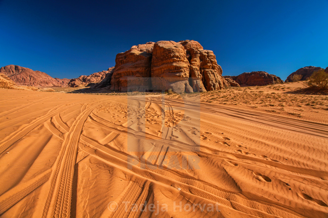 """View in Wadi Rum desert"" stock image"
