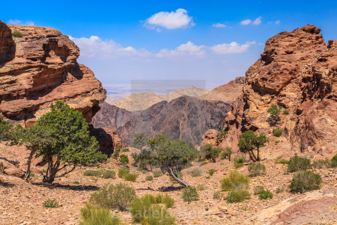"""Petra Jordan Mountains view"" stock image"