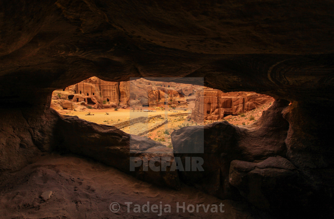 """Rock tombs in Petra"" stock image"