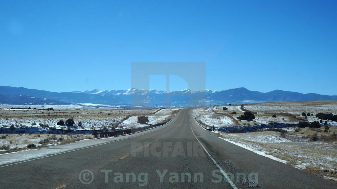"""Scenic desert highway, USA."" stock image"