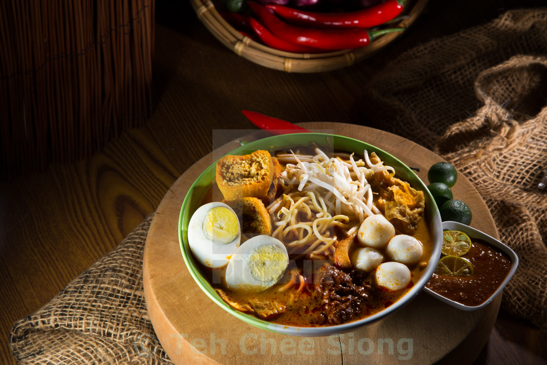 """""""traditiona curry spicy noodle soup"""" stock image"""