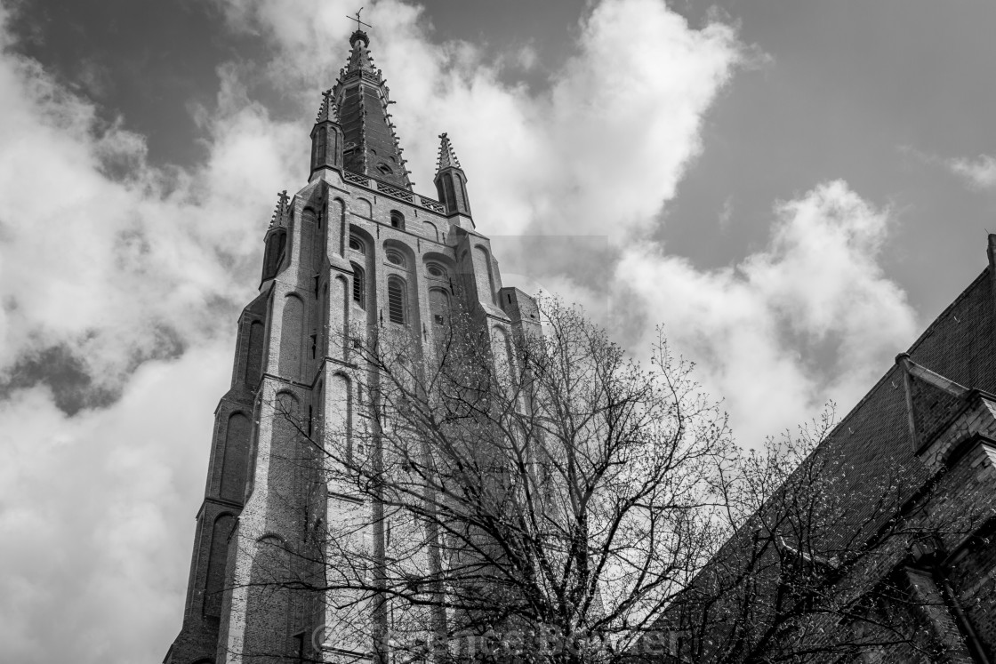 """""""Church Tower in Bruges"""" stock image"""
