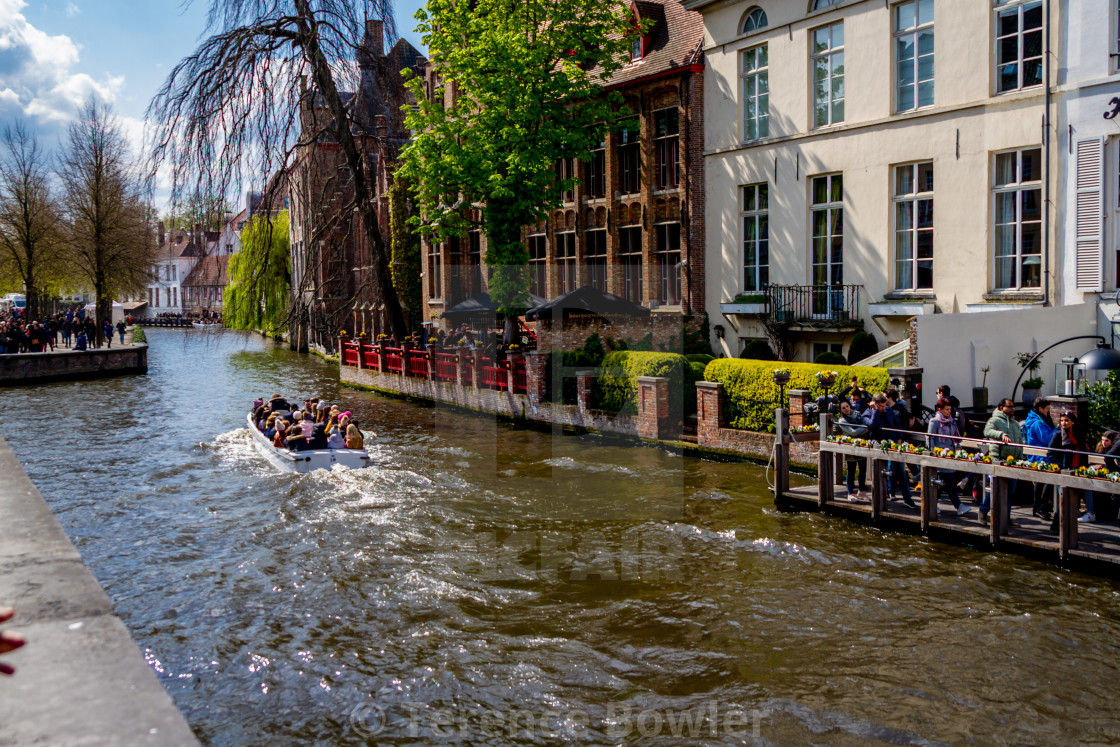 """""""Boat on canal in Bruges"""" stock image"""
