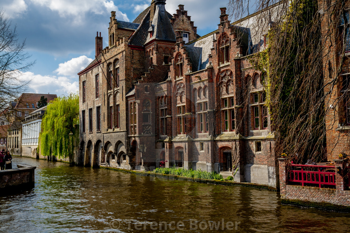 """Canal and buildings in Bruges"" stock image"
