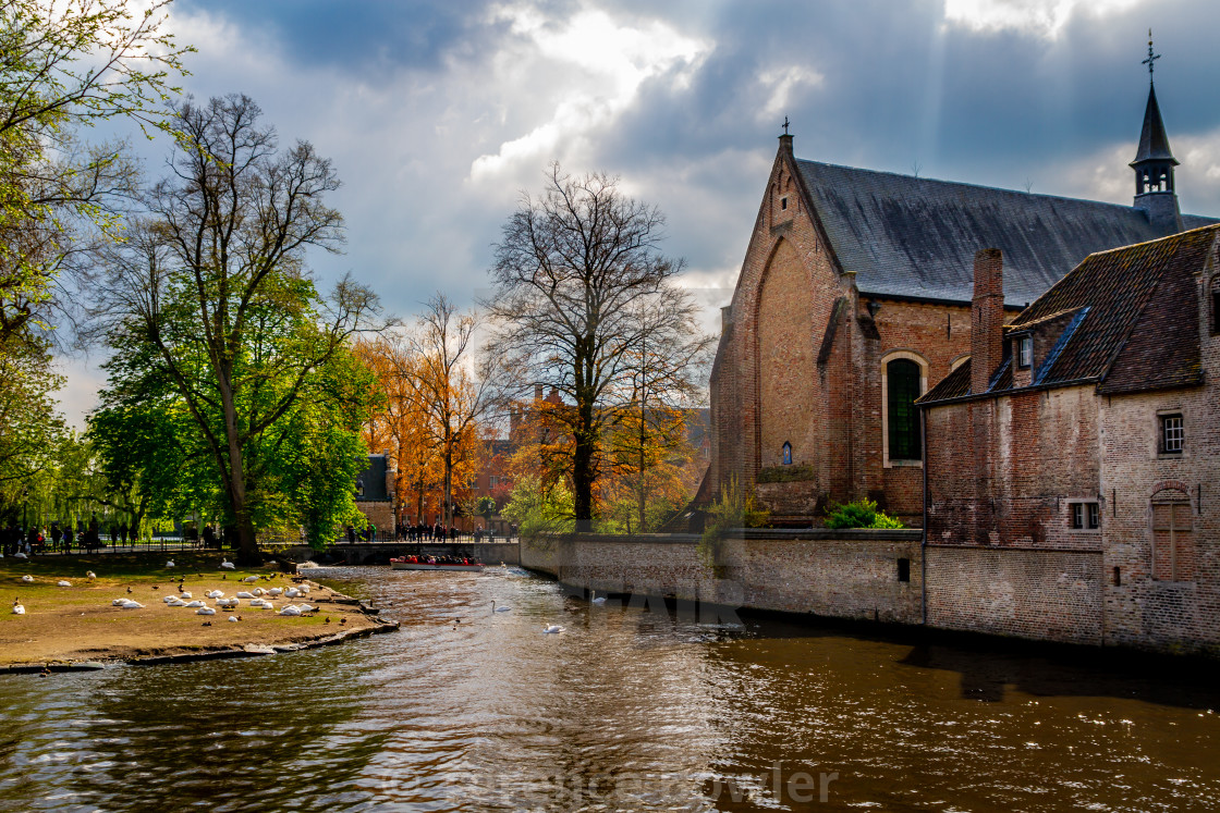 """""""Canal with buildings in Bruges"""" stock image"""