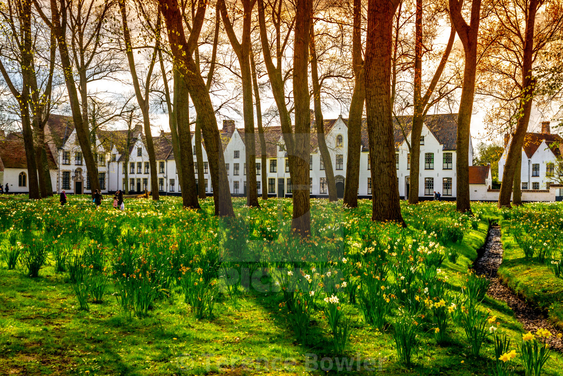 """""""Buildings and gardens in Bruges"""" stock image"""