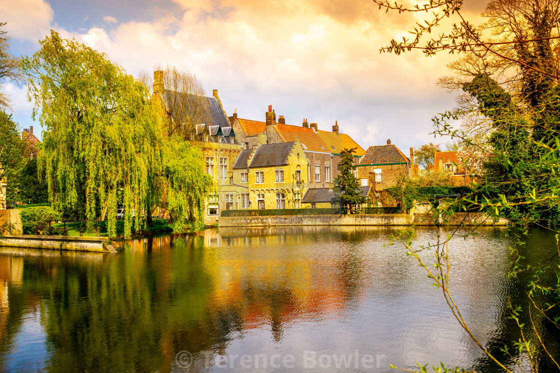 """""""Buildings on a canal in Bruges"""" stock image"""
