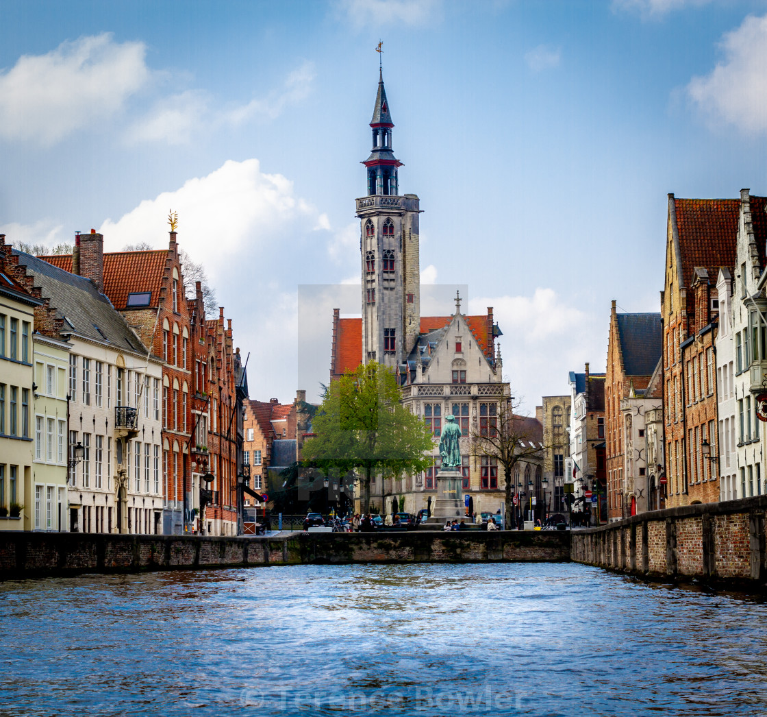 """Church on a canal in Bruges"" stock image"