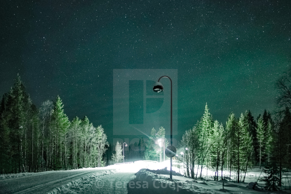 """The stars and aurora light the way"" stock image"