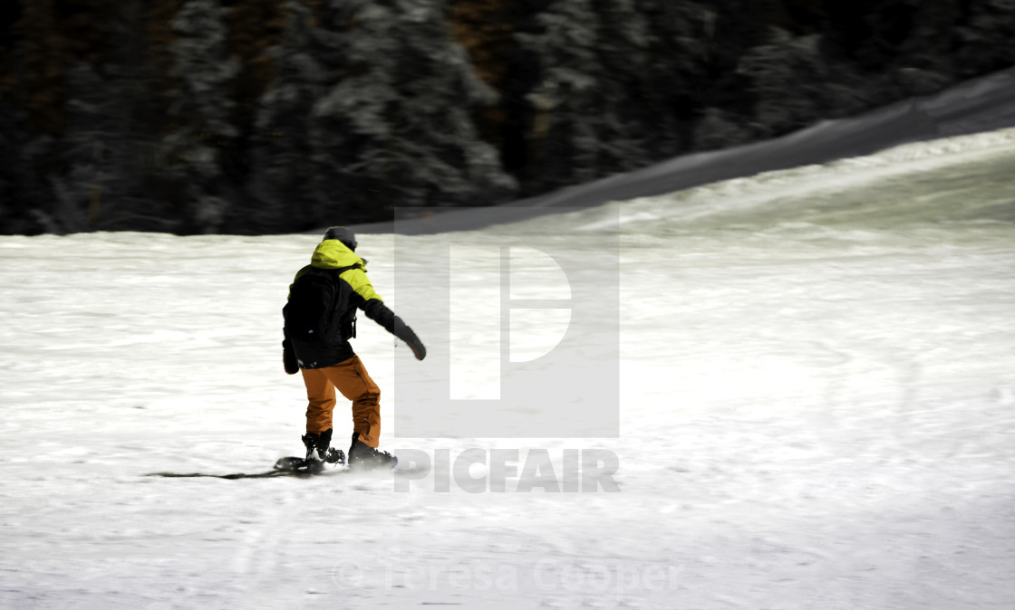 """Snowboarder on the fells"" stock image"