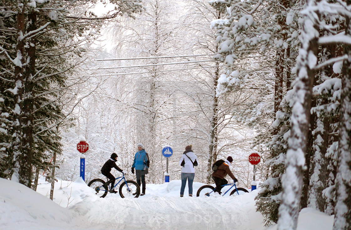 """""""People and cyclists in the snow"""" stock image"""