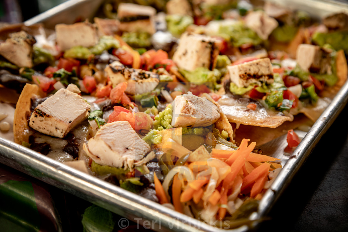 """""""Chicken chunk tacos on silver platter"""" stock image"""