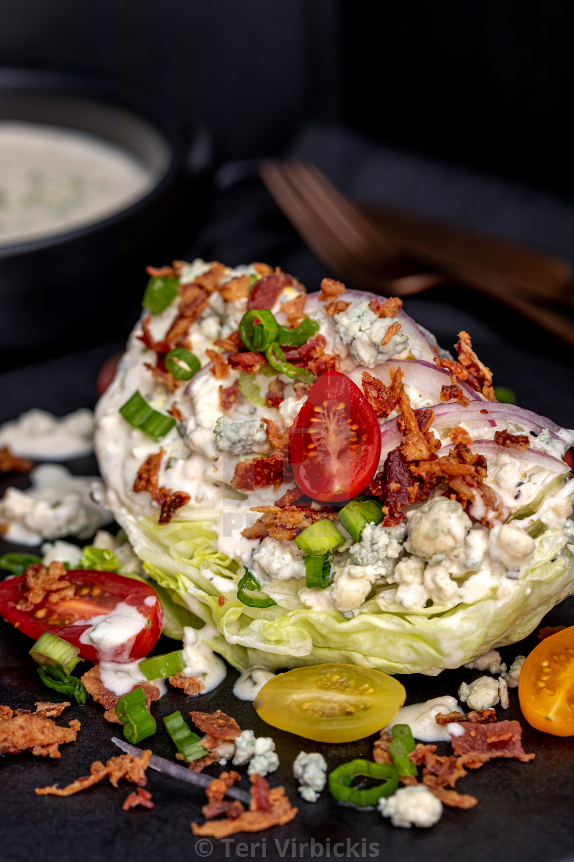 """""""Lettuce wedge salad with blue cheese dressing"""" stock image"""