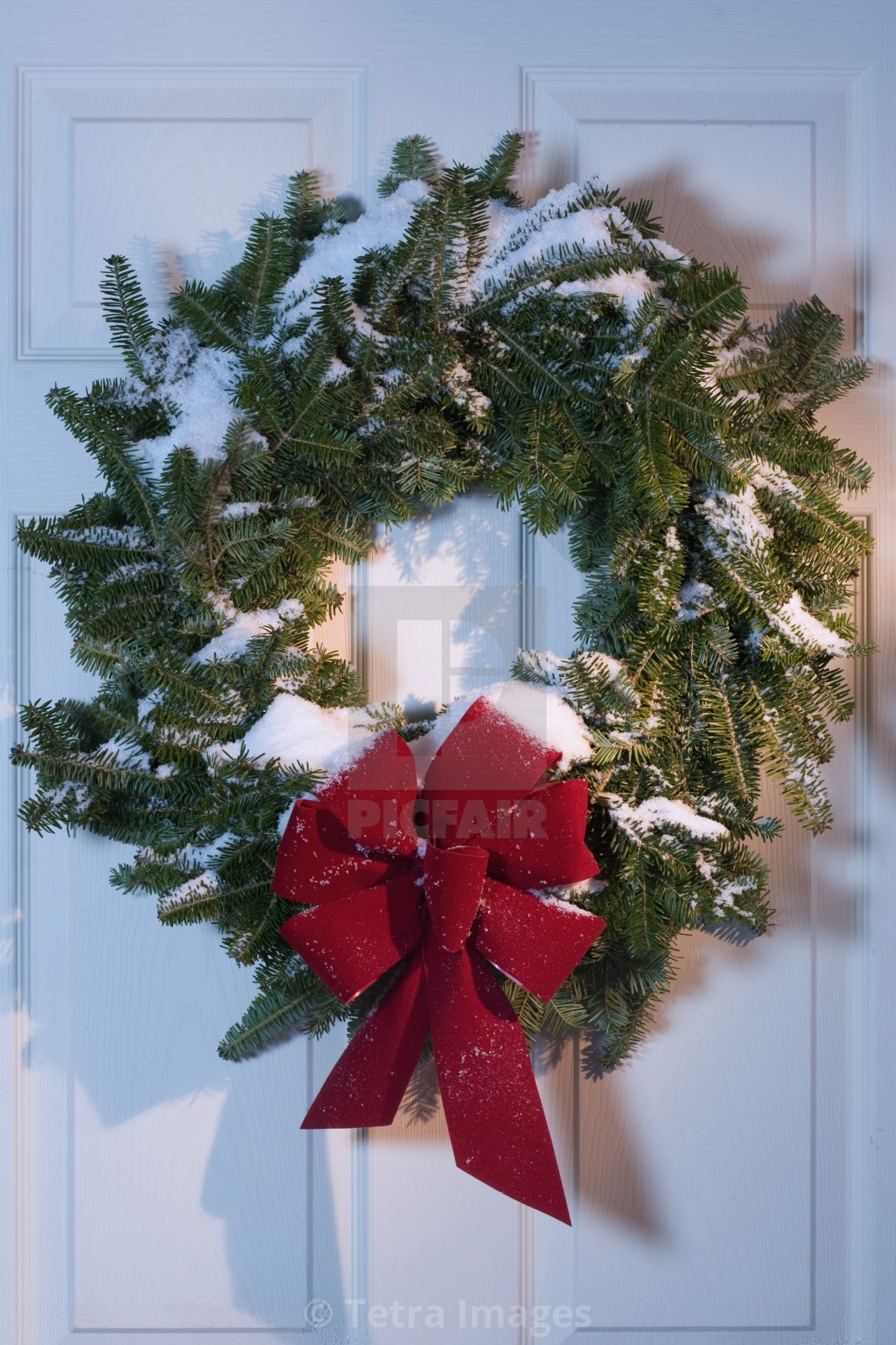 Still Life Of Christmas Wreath On Door License Download Or Print