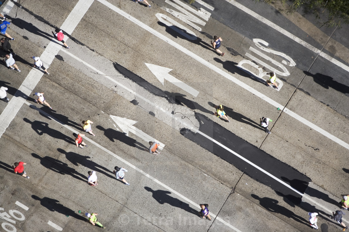 """USA, New York City, New York City Marathon as seen from above"" stock image"