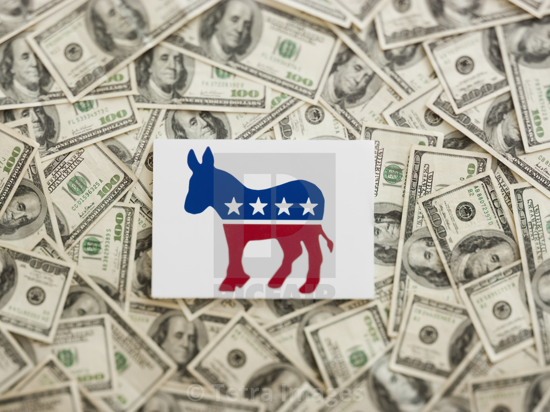 Democratic Party Symbol Wtih Us Dollars As Background License For