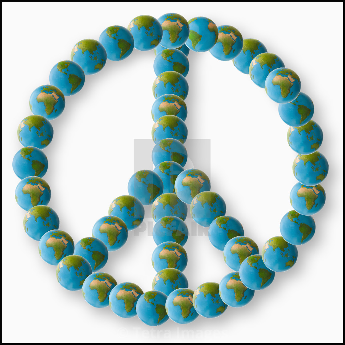 Studio Shot Of Peace Symbol Made Of Globes License For 3720 On