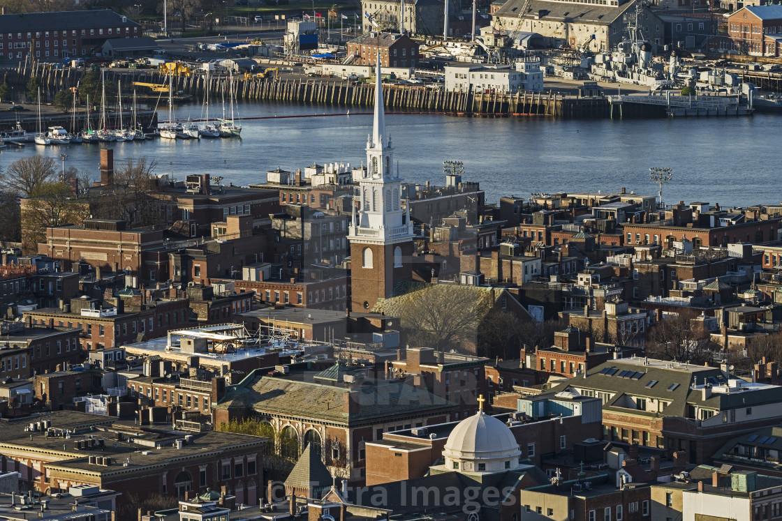 """Massachusetts, Boston, Aerial view of North End and Charlestown areas"" stock image"
