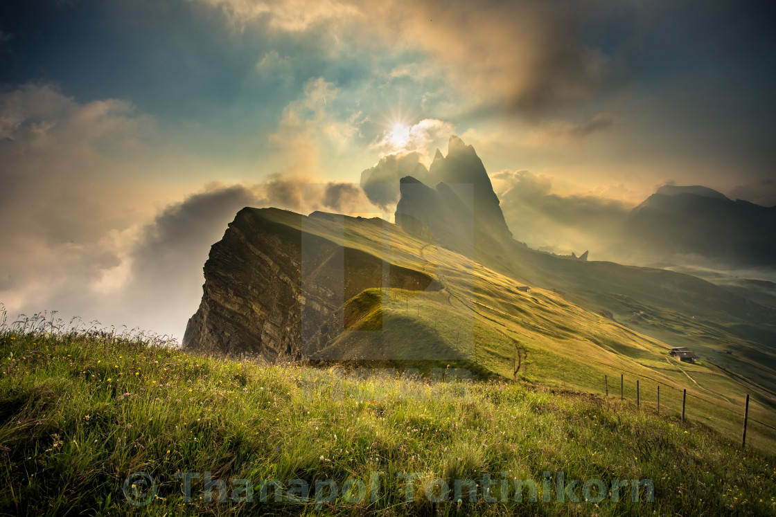 """Seceda peak at Dolomite."" stock image"