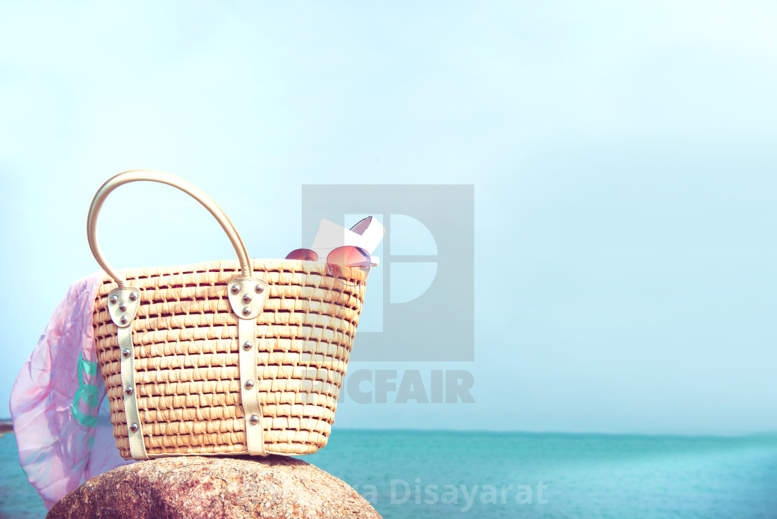 """Bag with all object for Summer. Travel at the beach and sea."" stock image"