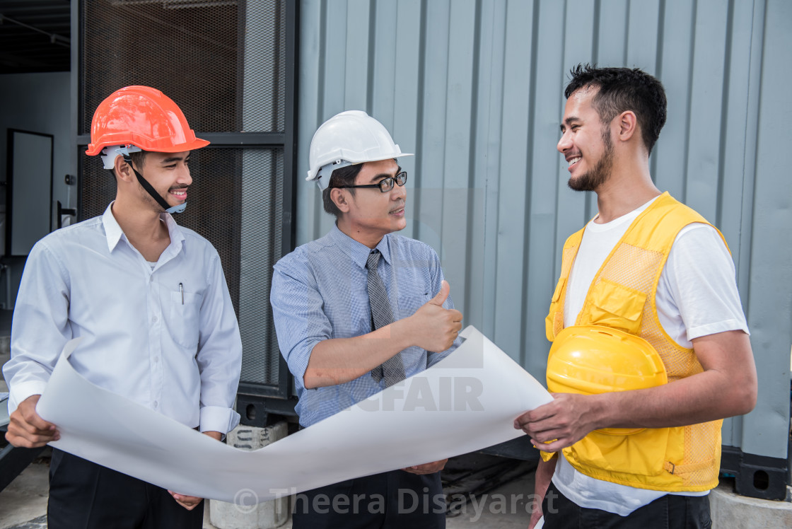 """engineers and teamwork, meeting for successful project construction"" stock image"