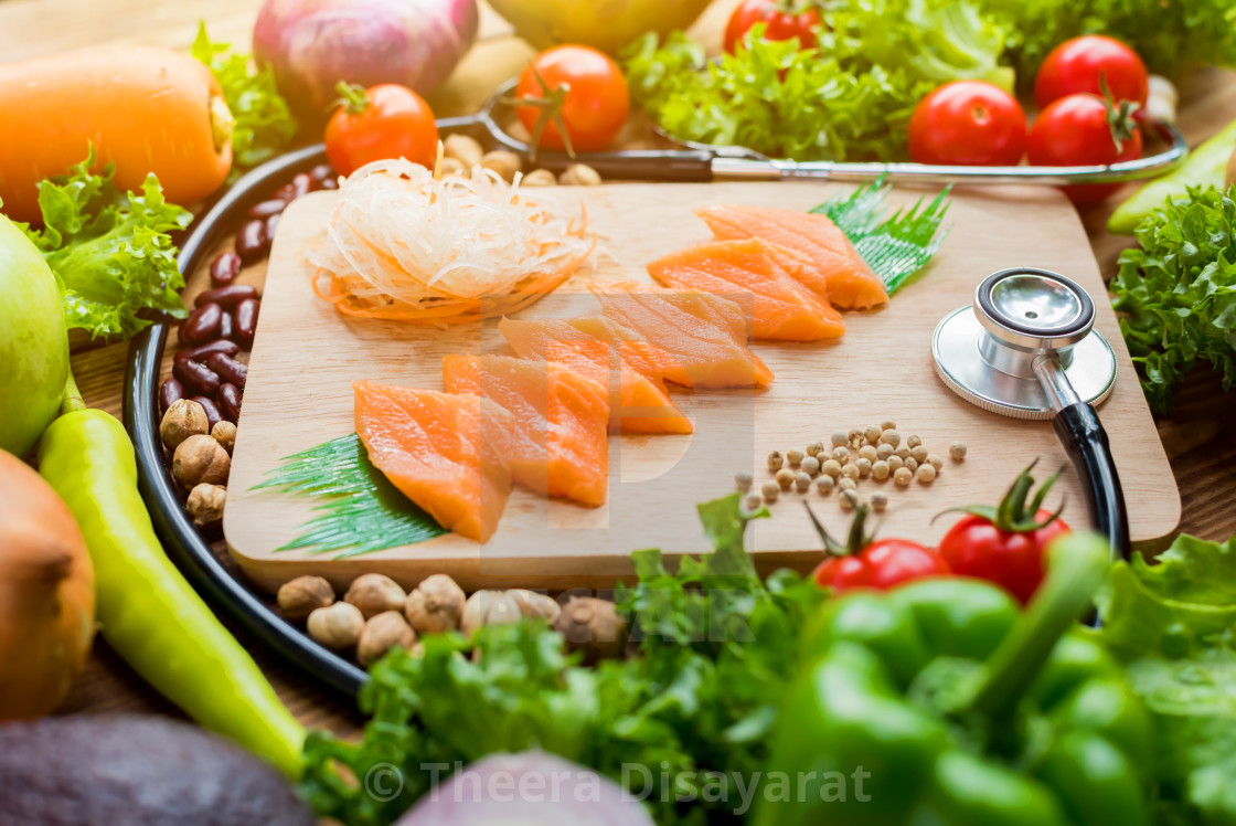 Fresh Salmon fish and chicken with vegetables for cooking